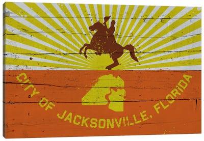 Jacksonville, Florida Fresh Paint City Flag on Wood Planks Canvas Art Print