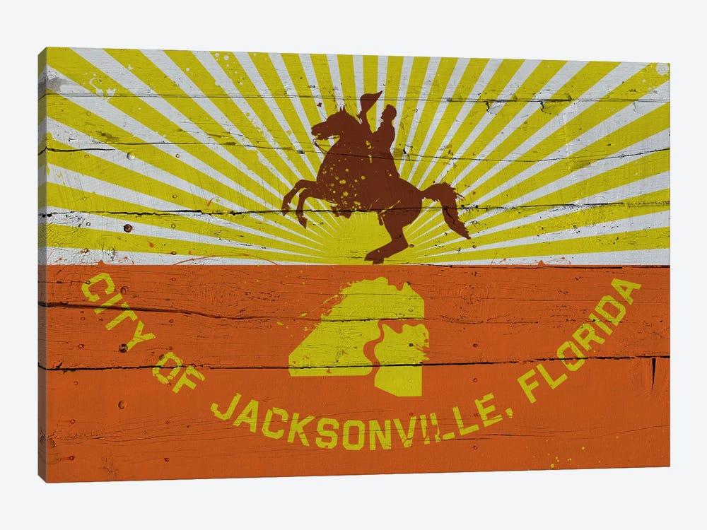 Jacksonville, Florida Fresh Paint City Flag on Wood Planks by iCanvas 1-piece Canvas Wall Art