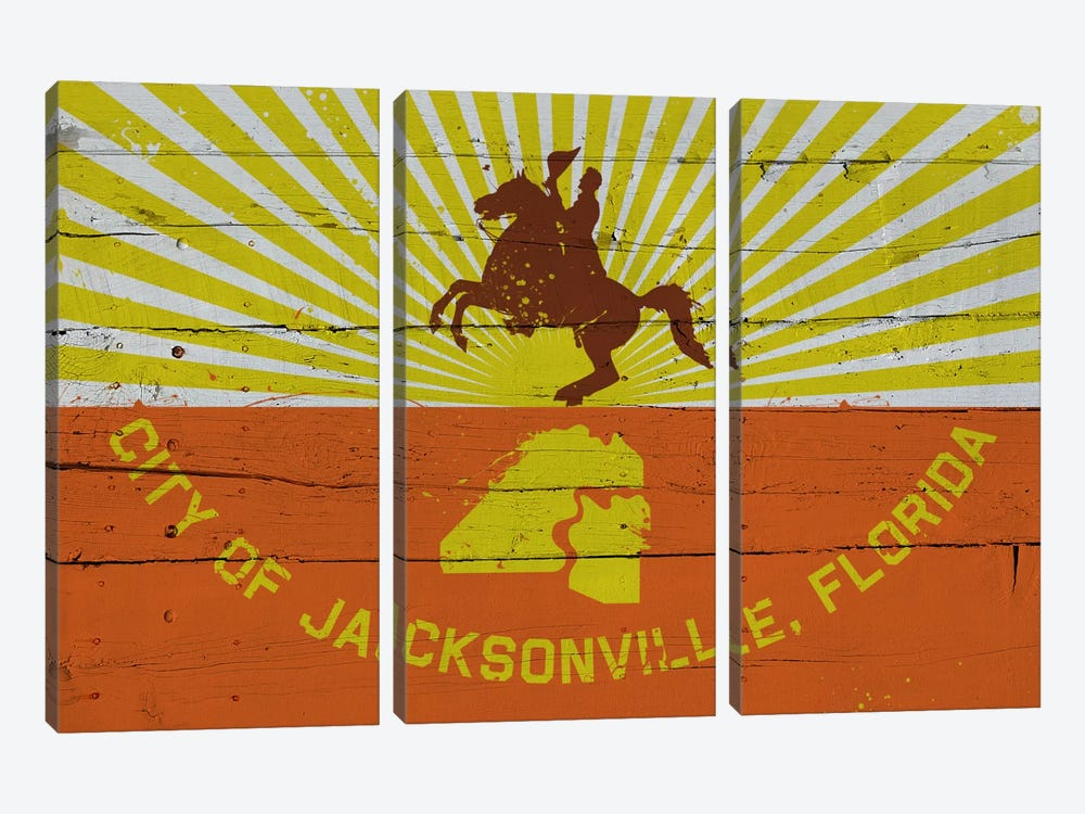 Jacksonville, Florida Fresh Paint City Flag on Wood Planks by iCanvas 3-piece Canvas Wall Art