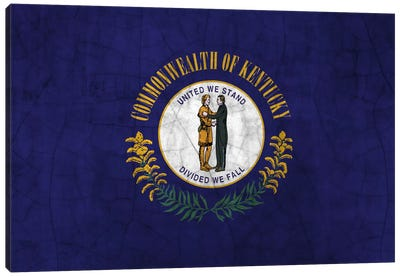 Kentucky Cracked Paint State Flag Canvas Art Print