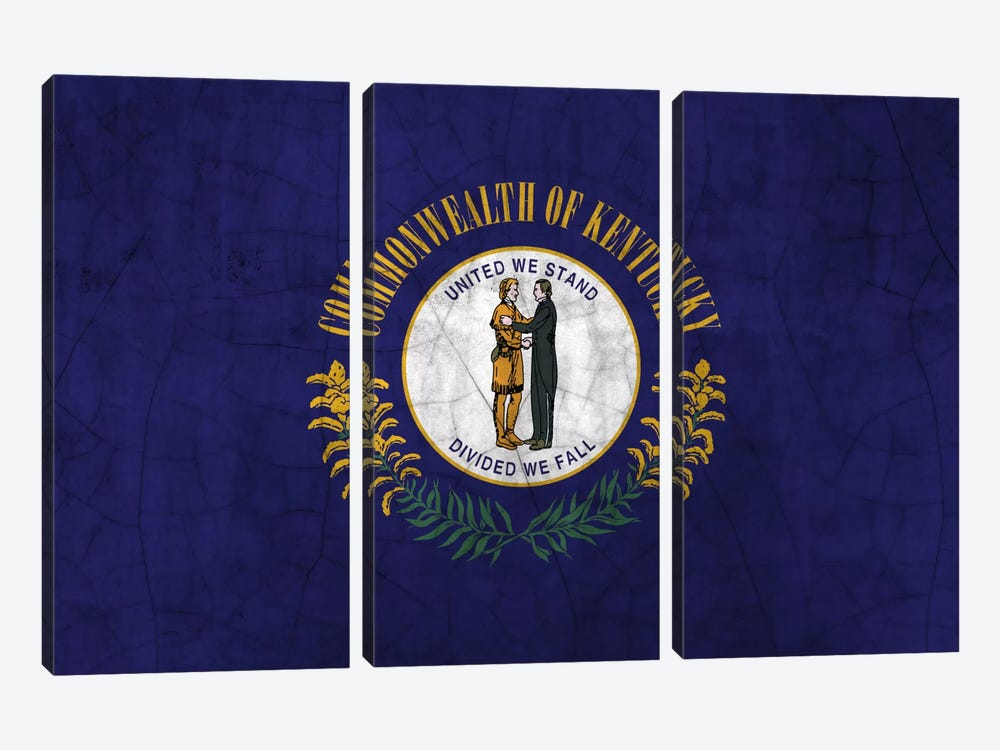 Kentucky Cracked Paint State Flag by iCanvas 3-piece Canvas Artwork