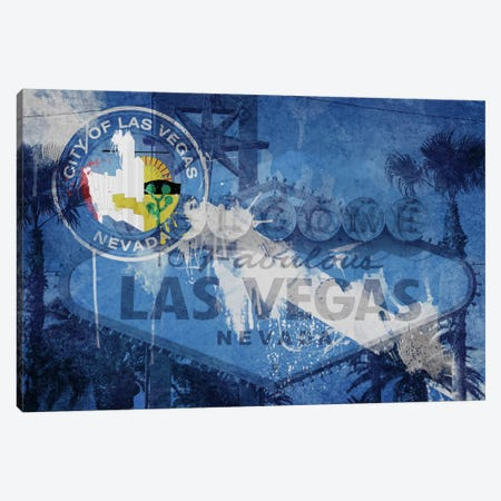 City Flag Overlay Series (Fresh Paint): Las Vegas, Nevada (Welcome Sign) Canvas Print #FLG194} by iCanvas Canvas Art Print