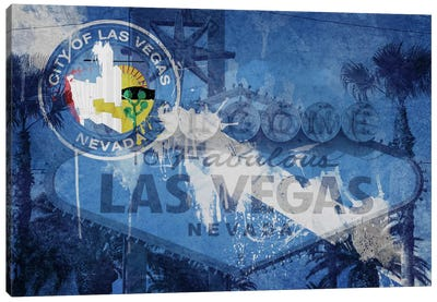City Flag Overlay Series (Fresh Paint): Las Vegas, Nevada (Welcome Sign) Canvas Art Print