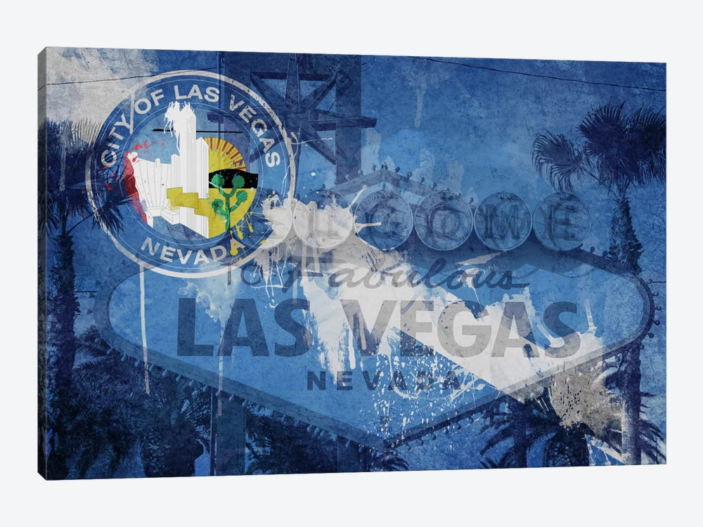 City Flag Overlay Series (Fresh Paint): Las Vegas, Nevada (Welcome Sign) by iCanvas 1-piece Canvas Artwork