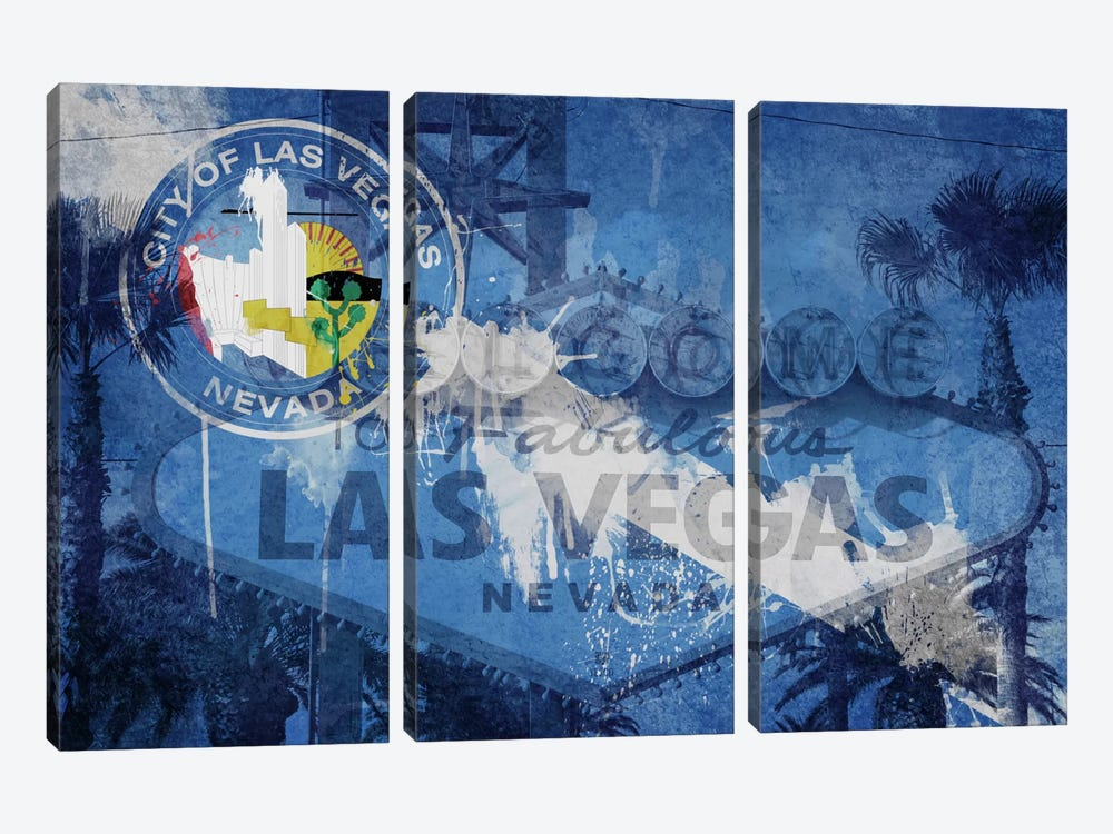 City Flag Overlay Series (Fresh Paint): Las Vegas, Nevada (Welcome Sign) by iCanvas 3-piece Canvas Wall Art