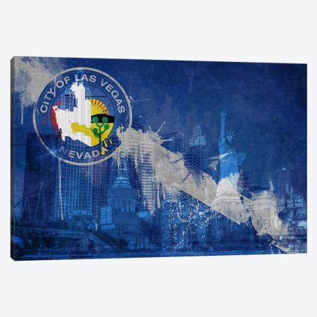 City Flag Overlay Series (Fresh Paint): Las Vegas, Nevada (New York, New York) Canvas Print #FLG197} by iCanvas Art Print