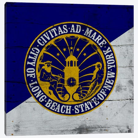 Long Beach, New York Flag on Wood Planks Canvas Print #FLG199} by iCanvas Canvas Art
