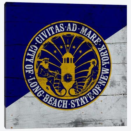 Long Beach, New York Flag on Wood Planks Canvas Print #FLG199} by iCanvas Canvas Art