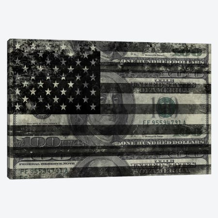 "USA ""Melting Film"" Flag in Black & White (100 Dollar Bill) Canvas Print #FLG1} by iCanvas Canvas Artwork"