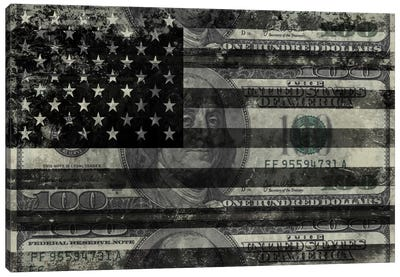 "USA ""Melting Film"" Flag in Black & White (100 Dollar Bill) Canvas Art Print"