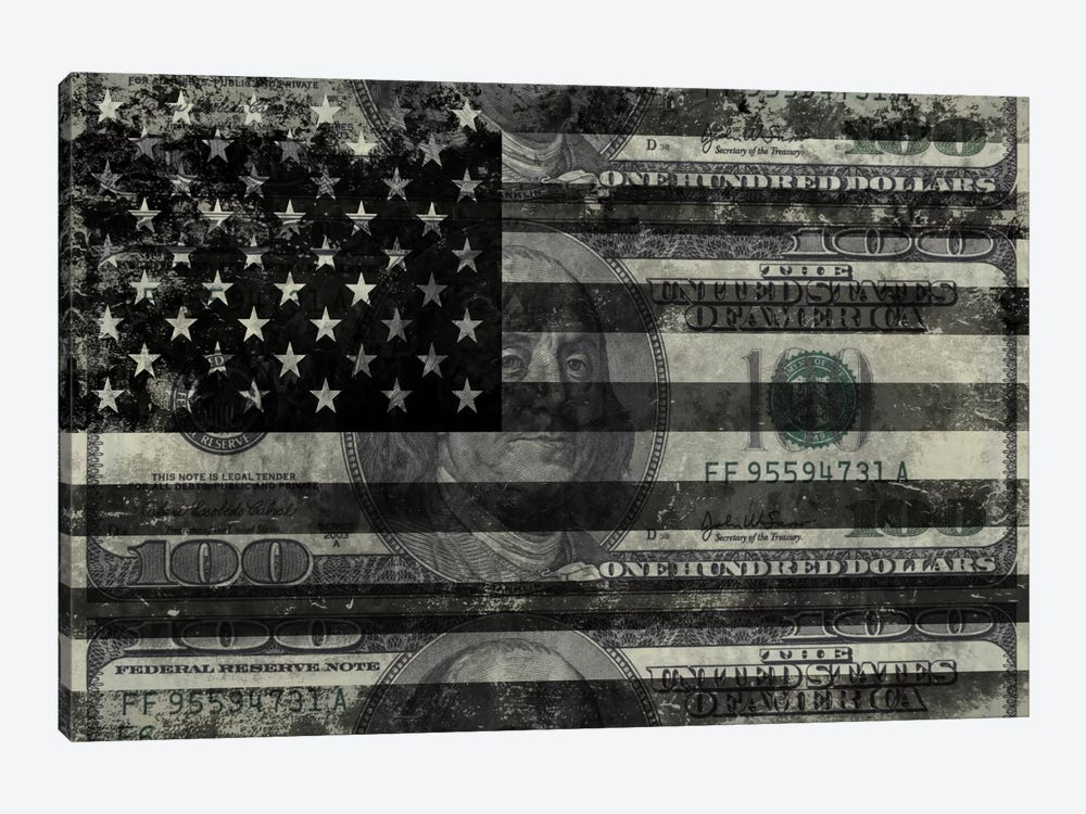 "USA ""Melting Film"" Flag in Black & White (100 Dollar Bill) by iCanvas 1-piece Canvas Art Print"
