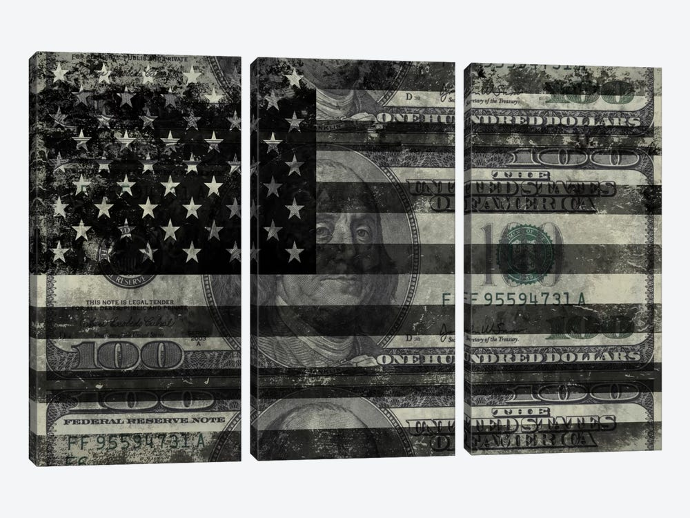 "USA ""Melting Film"" Flag in Black & White (100 Dollar Bill) by iCanvas 3-piece Canvas Print"