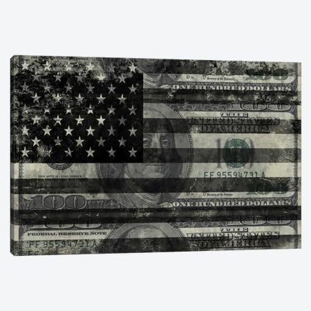 "USA ""Melting Film"" Flag in Black & White (100 Dollar Bill) Canvas Print #FLG1} by iCanvas Canvas Artwork"