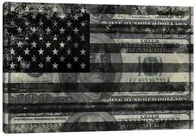 "USA ""Melting Film"" Flag in Black & White (100 Dollar Bill) Canvas Art Print"