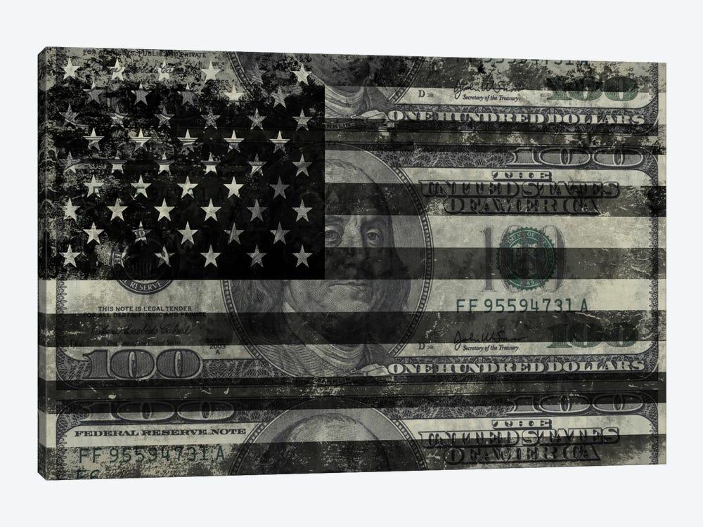 "USA ""Melting Film"" Flag in Black & White (100 Dollar Bill) by iCanvas 1-piece Canvas Art Print"