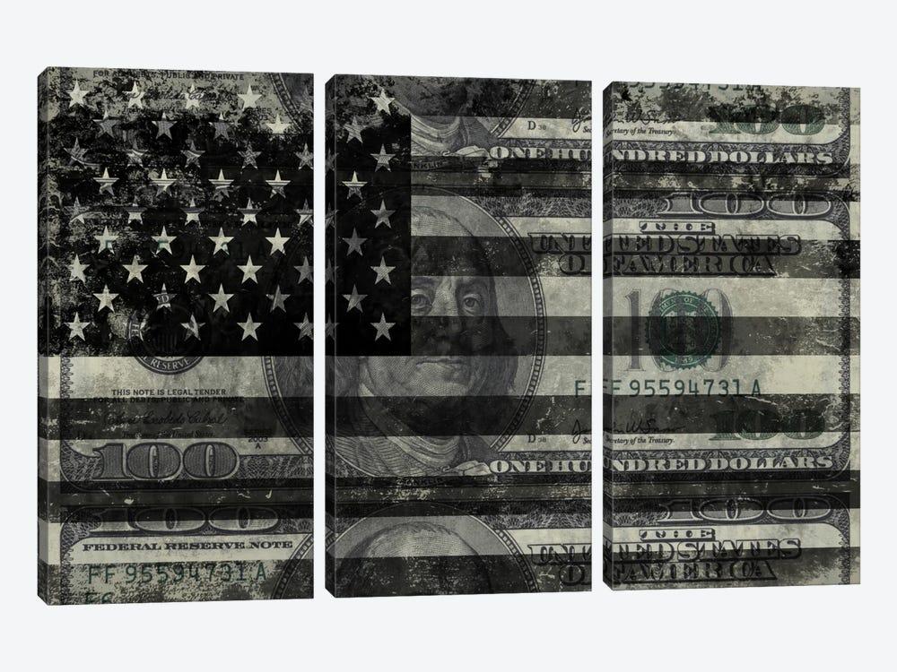 "USA ""Melting Film"" Flag in Black & White (100 Dollar Bill) by iCanvas 3-piece Canvas Print"