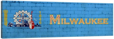 Milwaukee, Wisconsin City Flag on Bricks Canvas Art Print