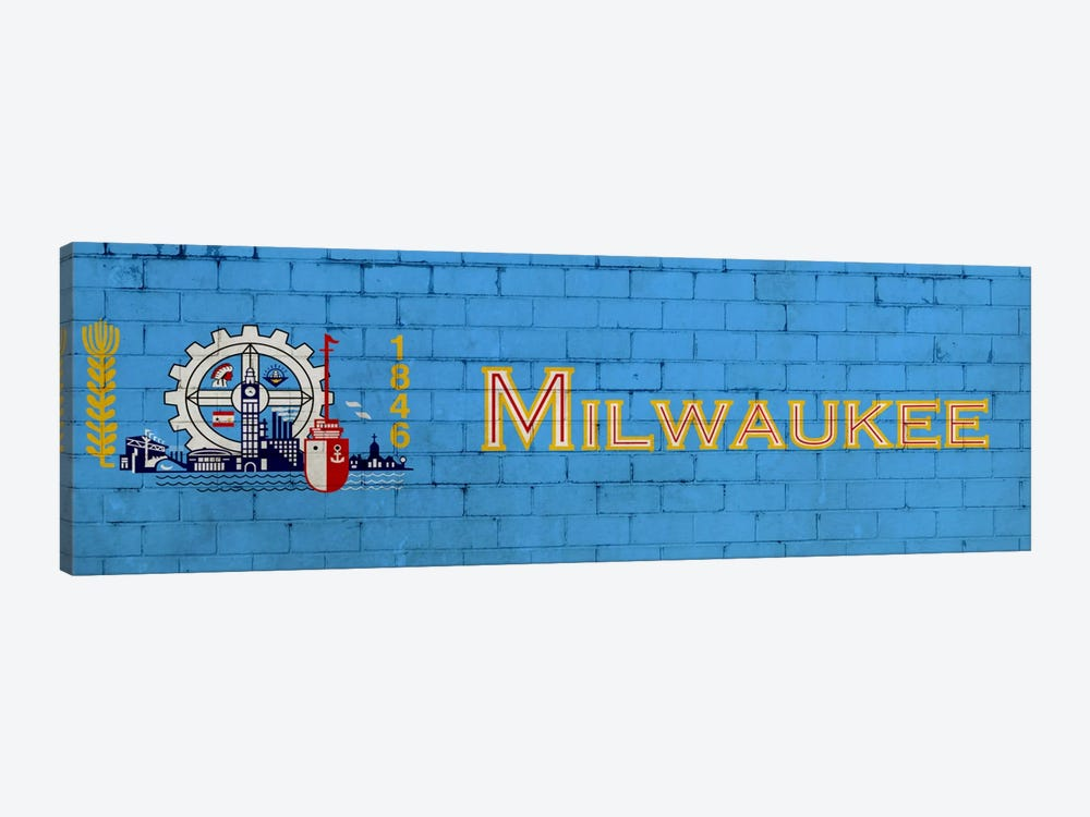 Milwaukee, Wisconsin City Flag on Bricks by iCanvas 1-piece Art Print