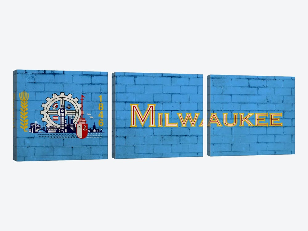 Milwaukee, Wisconsin City Flag on Bricks by iCanvas 3-piece Canvas Art Print
