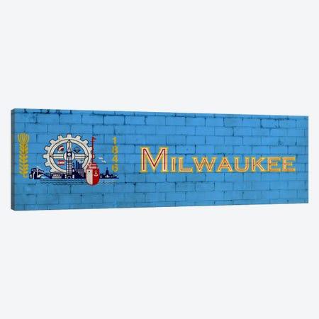 Milwaukee, Wisconsin City Flag on Bricks Canvas Print #FLG208} by iCanvas Canvas Wall Art