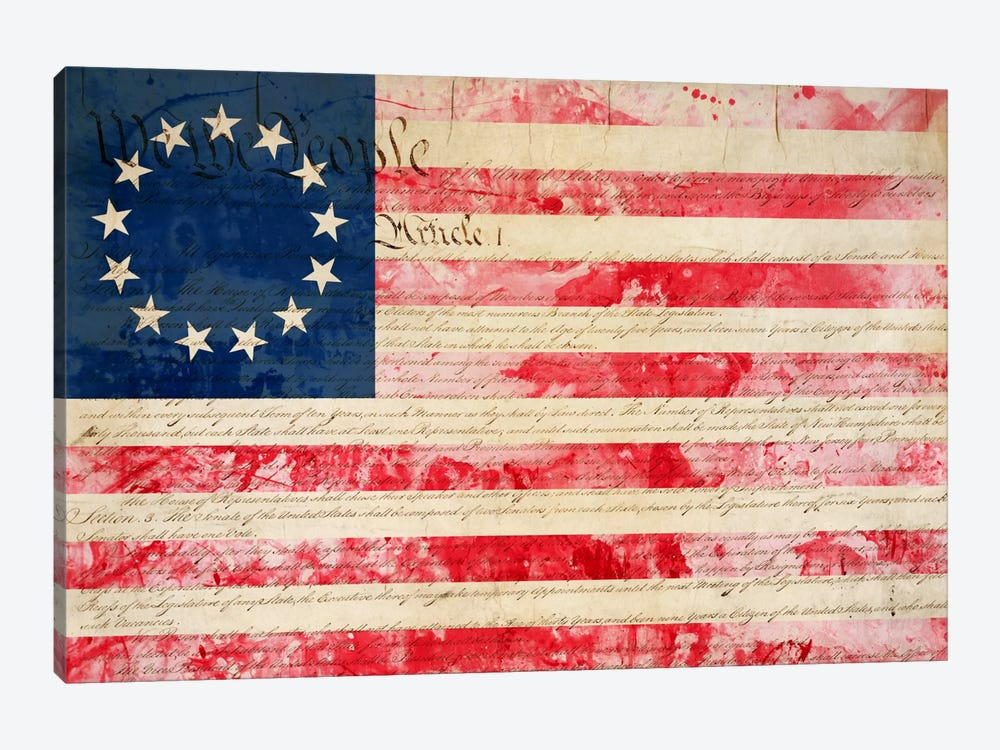 "USA ""Betsy Ross"" Flag with Constitution Background II 1-piece Canvas Art"