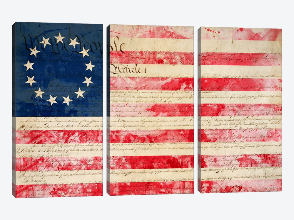 "USA ""Betsy Ross"" Flag with Constitution Background II 3-piece Canvas Wall Art"