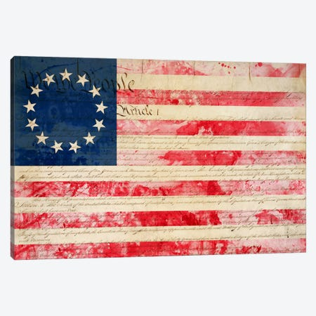 """USA """"Betsy Ross"""" Flag with Constitution Background II Canvas Print #FLG20} by iCanvas Canvas Artwork"""