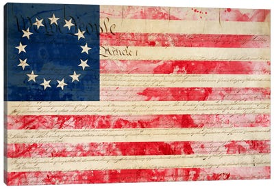 """USA """"Betsy Ross"""" Flag with Constitution Background II Canvas Art Print"""