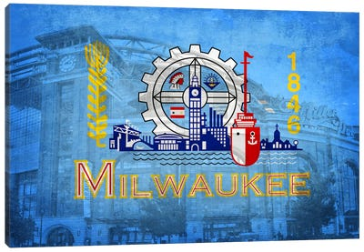 City Flag Overlay Series: Milwaukee, Wisconsin (Miller Park) Canvas Art Print