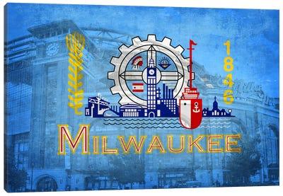 City Flag Overlay Series: Milwaukee, Wisconsin (Miller Park) Canvas Print #FLG211