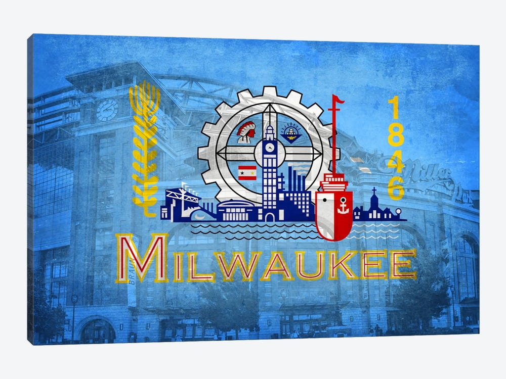 City Flag Overlay Series: Milwaukee, Wisconsin (Miller Park) by iCanvas 1-piece Art Print