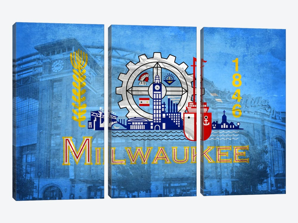 City Flag Overlay Series: Milwaukee, Wisconsin (Miller Park) by iCanvas 3-piece Canvas Art Print