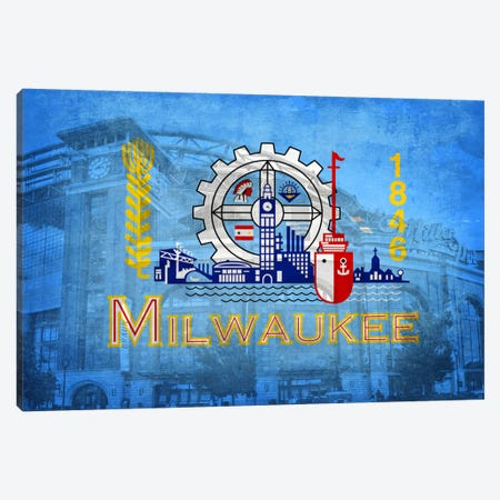 Milwaukee, Wisconsin (Miller Park) 3-Piece Canvas #FLG211} by iCanvas Canvas Print