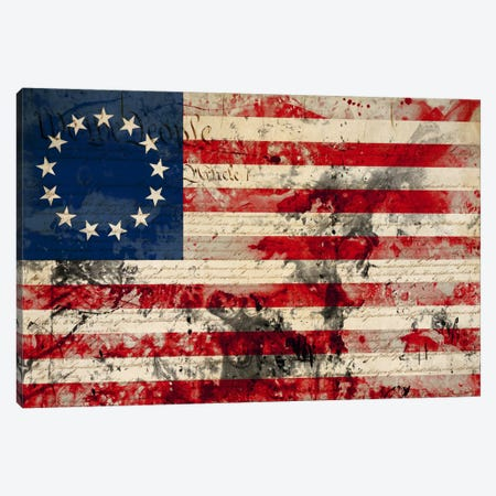 "USA ""Betsy Ross"" Flag with Constitution Background I Canvas Print #FLG21} by iCanvas Canvas Art"