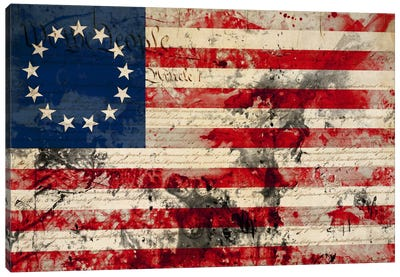 """USA """"Betsy Ross"""" Flag with Constitution Background I Canvas Art Print"""