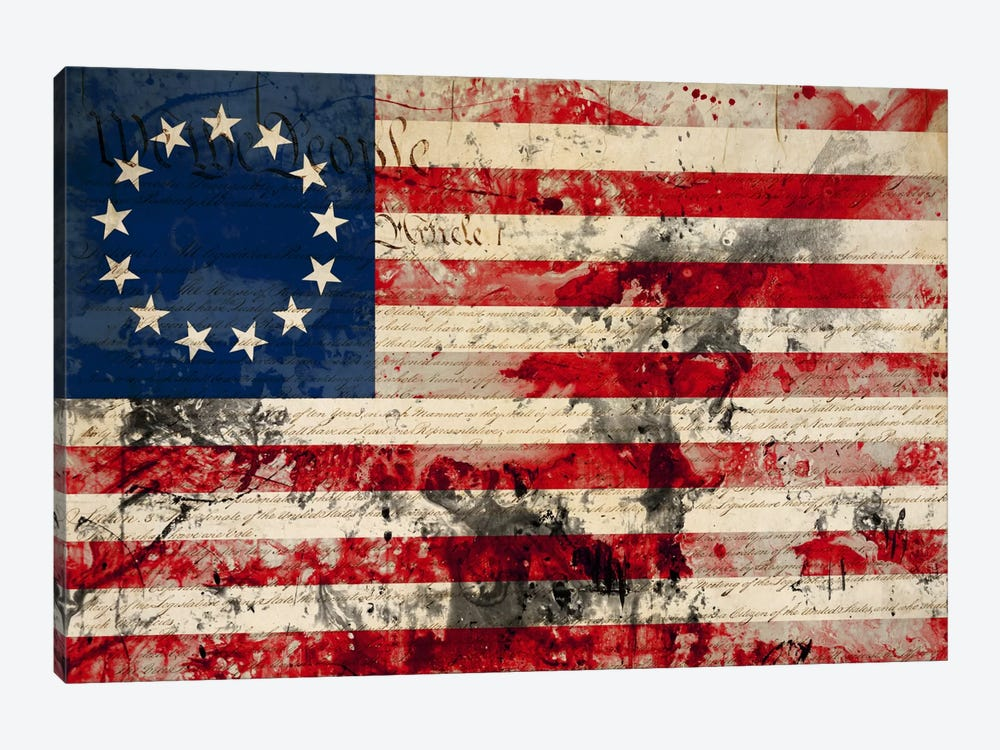 """USA """"Betsy Ross"""" Flag with Constitution Background I by iCanvas 1-piece Canvas Print"""