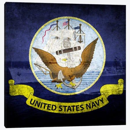 U.S. Navy Flag (U.S.S Ponce & USNS Kanawha Background) Canvas Print #FLG240} by iCanvas Canvas Wall Art