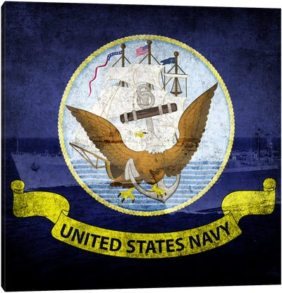 U.S. Navy Flag (U.S.S Ponce & USNS Kanawha Background) Canvas Art Print