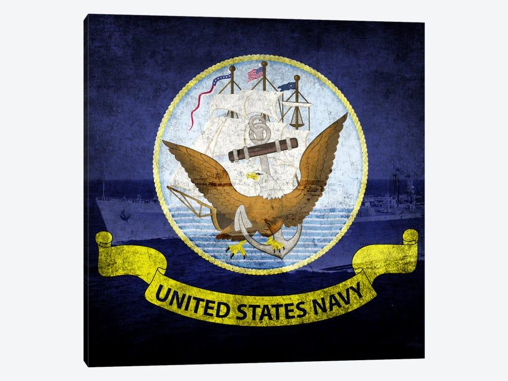 U.S. Navy Flag (U.S.S Ponce & USNS Kanawha Background) by iCanvas 1-piece Canvas Art Print