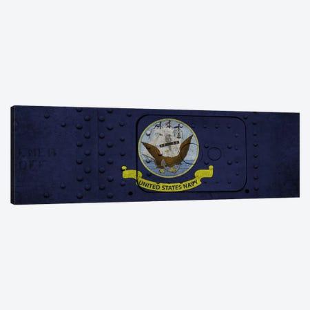 U.S. Navy Flag (Riveted Warship Panel Background) I Canvas Print #FLG241} by iCanvas Canvas Artwork