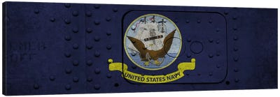 U.S. Navy Flag (Riveted Warship Panel Background) I Canvas Art Print