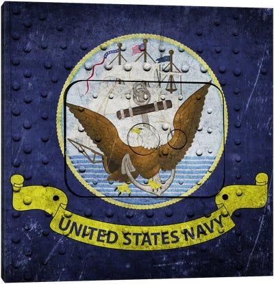 U.S. Navy Flag (Riveted Warship Panel Background) II Canvas Art Print