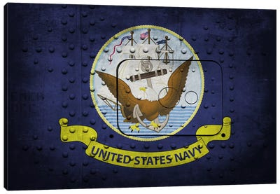 Navy FlagMetal Rivet Canvas Art Print