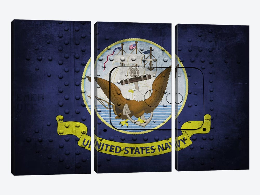 Navy FlagMetal Rivet by iCanvas 3-piece Canvas Artwork