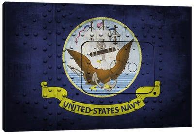 U.S. Navy Flag (Riveted Warship Panel Background) III Canvas Art Print