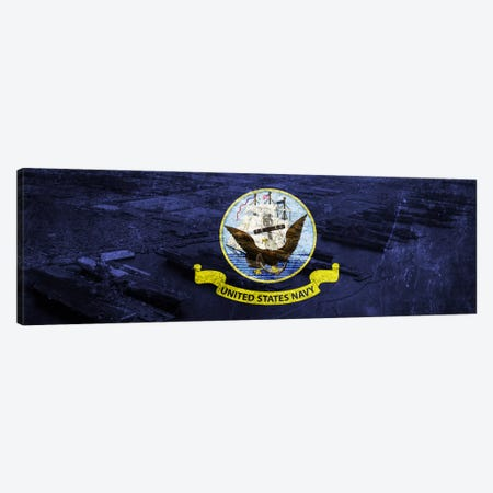U.S. Navy Flag (Naval Station Norfolk Background) I Canvas Print #FLG244} by iCanvas Canvas Print