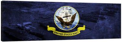 U.S. Navy Flag (Naval Station Norfolk Background) I Canvas Art Print