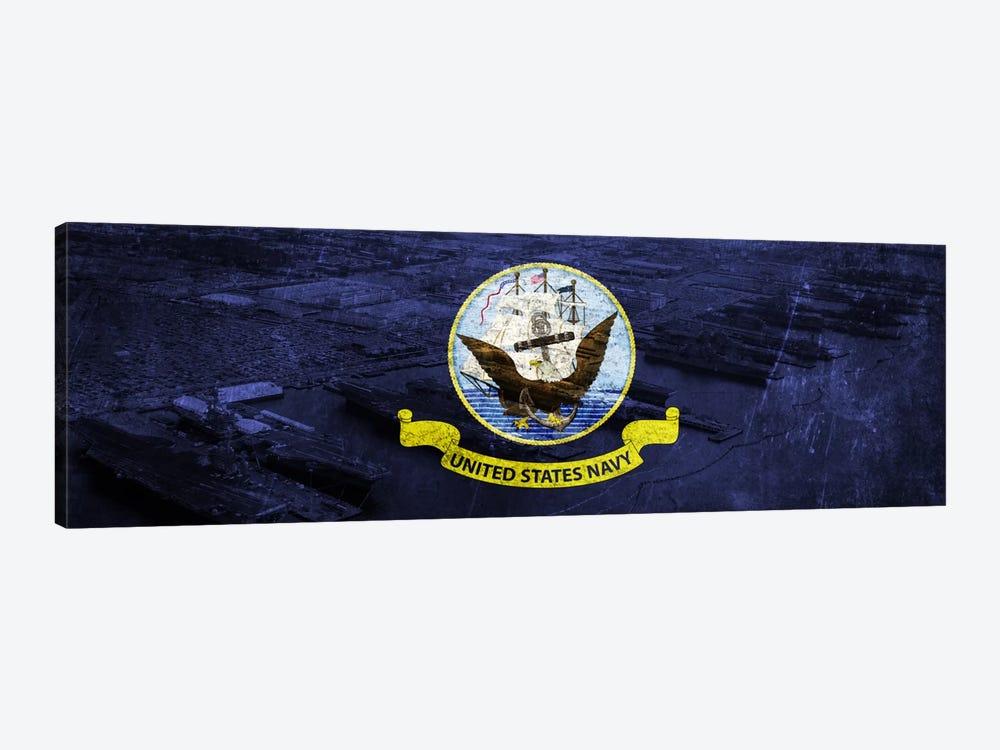 U.S. Navy Flag (Naval Station Norfolk Background) I by iCanvas 1-piece Canvas Art Print