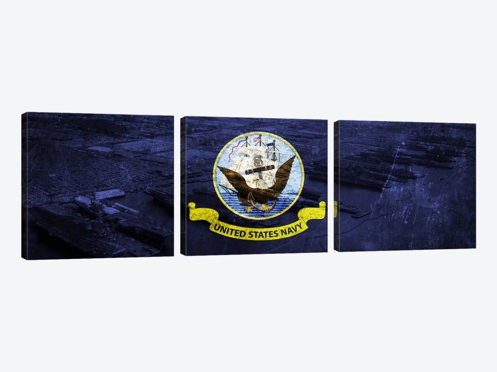 U.S. Navy Flag (Naval Station Norfolk Background) I by iCanvas 3-piece Canvas Print