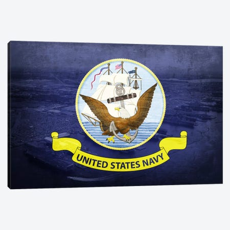 U.S. Navy Flag (Naval Station Norfolk Background) II Canvas Print #FLG245} by iCanvas Canvas Print